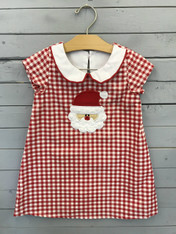 Red and White Checkered Dress with Santa Face