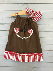 Pillowcase Dress with Gingerbread Man Face