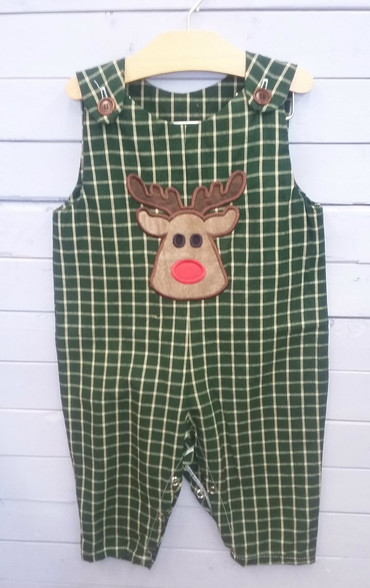 This adorable little boys Jon Jon is perfect for the holidays! It has a reindeer head applique, and can become even more personalized with a name! The quality is outstanding!