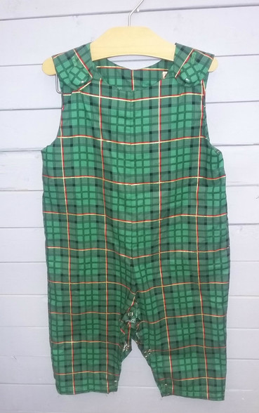 This is a boys Jon Jon, made with green Christmas plaid fabric. It is a great outfit for the holidays approaching.