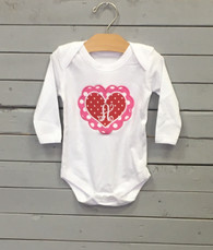 Valentine Heart Onesie with Inital