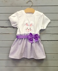 Purple Bunny Face Bow Dress
