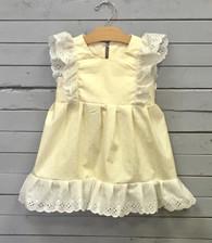 Yellow Pinafore Dress with White Eyelet