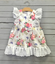 White Pinafore with Birds and Flowers