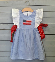 Blue Seersucker Flag Pinafore Dress