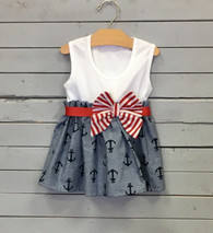 Bow Dress with Anchors and Red and White Bow