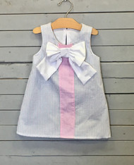 Seersucker Shift Dress with White Bow