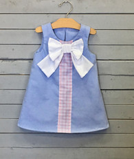 Blue Shift Dress with Pink Gingham and White Bow