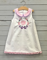 White Shift Dress with Monogram