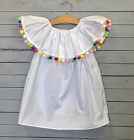 White Long Ruffle Priscilla with Tassels