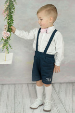 Navy Suspender Shorts with Monogram