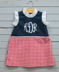 Navy, Red and White Gingham Dress with Monogram