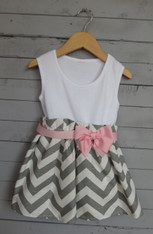 Gray Zigzag Bow Dress
