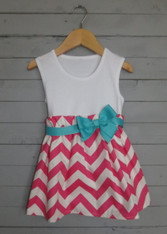 Pink Zigzag Bow Dress