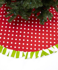 Red with Green and White Stripes Tree Skirt