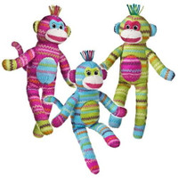 """Colorful Stuffed Toy Monkeys - 13"" high"""