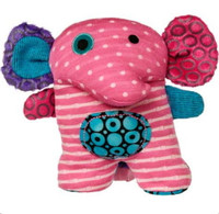 """Pink Stuffed Plush Elephant with Embroidered Face - 6"" high"""