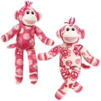 """Pink & White Sock Monkey - 8½"" high"""