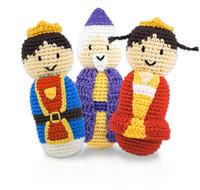 Hand Crocheted Bamboo Rattles  - King, Queen & Wizard