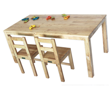 Qtoys Natural Rectangle Wooden Kids Table U0026 Chairs