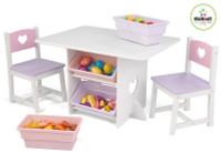kidkraft kids heart table and storage set