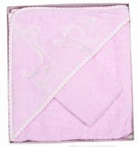 pink safari baby towel and face washer set