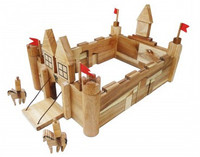 natural wooden castle building set for kids