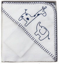 navy and white hooded baby towel safari