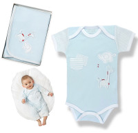 emotion and kids blue safari baby clothing, bibs and blankets