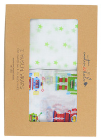 trendy robots swaddle baby wrap blanket gift set