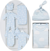blue clouds all over baby clothing
