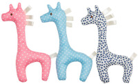 emotion and kids pink, blue and navy gerry giraffes rattles