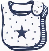 emotion and kids navy star 2pc cotton baby bib set