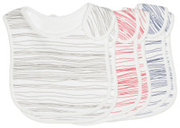 emotion and kids little scribbles 2 piece cotton baby bib in grey, red and navy