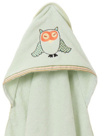 Breganwood Organics Baby & Toddler Hooded Towel - Woodland Collection - Sleepy Owl