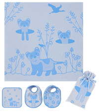 Breganwood Organics Muslin Swaddle Set - Prairie Collection - Blue Ferret