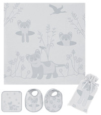 Breganwood Organics Muslin Swaddle Set - Prairie Collection - Grey Ferret