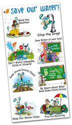 Fun Water Saving Message Temporary Tattoos Splash the Water Dog Series 2 | Conservation and Educational Product for all Ages