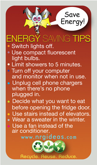 Colorful energy conservation tip magnet educational for Facts about energy conservation