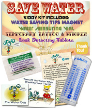 Mini Water Saving Educational Fun Kit for Kids - Stickers | Magnet | Drip Gauge | Tips | Dye Tablets