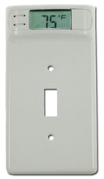 Digital Wall Plate Temperature Thermometer White