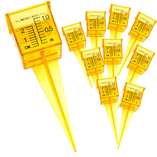 """Ten Pack 1.5"""" Rain and Sprinkler Gauge Wide Mouth Bright Yellow Outdoor Measuring Tool"""