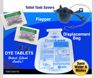 Toilet Water Saving Basic Kit - Flapper | Dye Tablets | Low Flush Less Displacement Bag