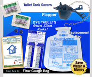 Toilet Water Audit Kit - Flapper | Dye Tablets | Low Flush Less Displacement Bag