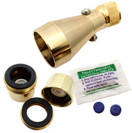 Brass Shower Head 2.25 gpm Combo Pack with 2.2 gpm Brass Aerator and Leak Detecting Tablets