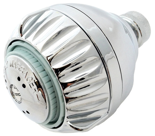 Water saving 1.5 gpm shower head, chrome.  This shower pro massage shower head has 3 luxurious settings.