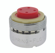 Small male 2.2 gpm full flow faucet aerator, spring slotted.  Splash reducing soft white stream.