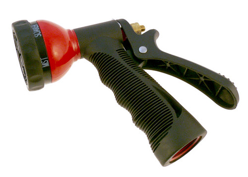 Six position hose nozzle, metal.