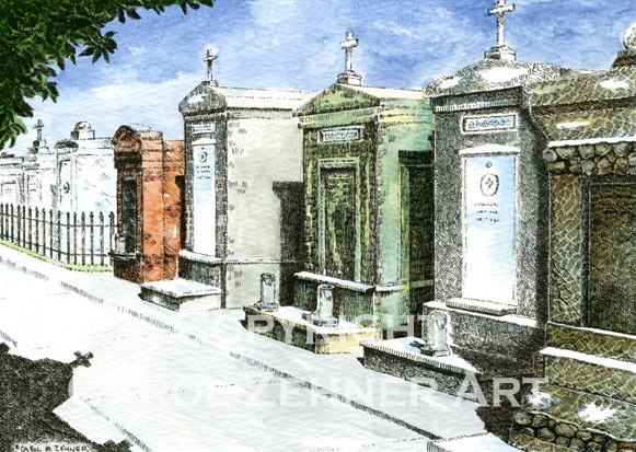 New Orleans Cemetery Watercolor Art