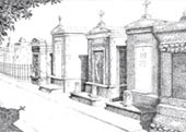 New Orleans Cemetary Ink Art